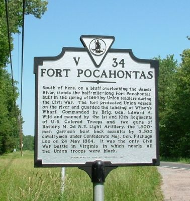 Fort Pocahontas Marker image. Click for full size.