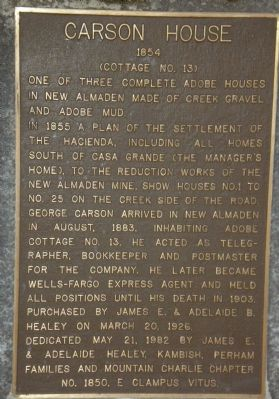 Carson House marker Photo, Click for full size