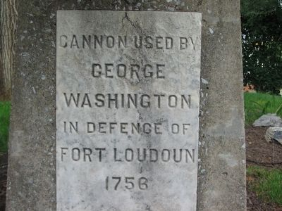 Pedeistal Inscription for the Fort Loudoun Cannon Photo, Click for full size
