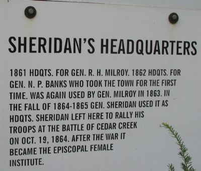 Sheridan's Headquarters Marker image. Click for full size.