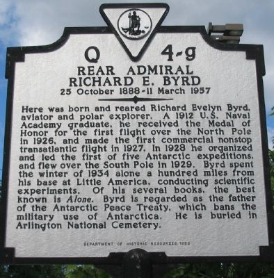 Rear Admiral Richard E. Byrd Marker image. Click for full size.