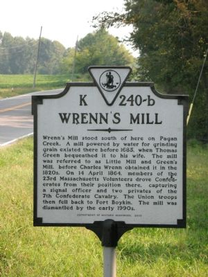 Wrenn's Mill Marker image. Click for full size.