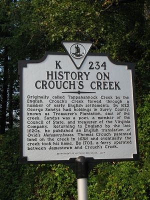 History on Crouch's Creek Marker image. Click for full size.
