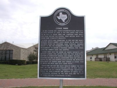 Cedar Park Marker Photo, Click for full size