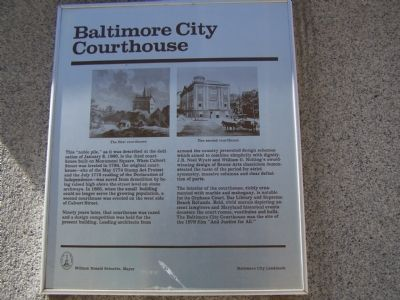 Baltimore City Courthouse Marker image. Click for full size.