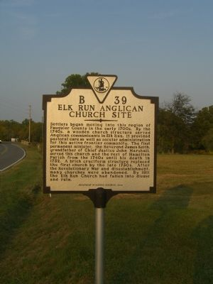 Elk Run Anglican Church Site Marker image. Click for full size.