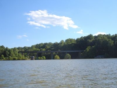 View of modern bridge and dam from middle of Lake Accotink image. Click for full size.