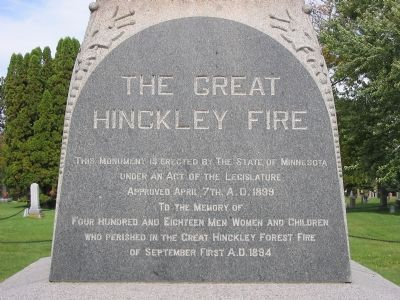 The Great Hinckley Fire Marker image. Click for full size.