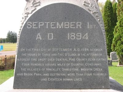 The Great Hinckley Fire Marker image, Click for more information
