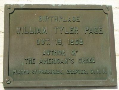 Birthplace of William Tyler Page Marker image. Click for full size.