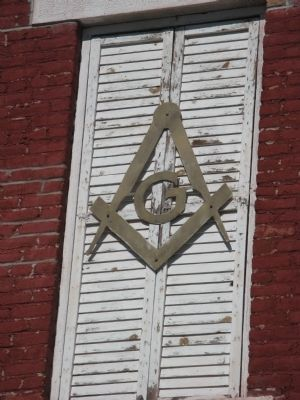 Masonic Symbol Mounted on Building image. Click for full size.