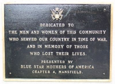Mansfield Blue Star Mothers War Memorial image. Click for full size.