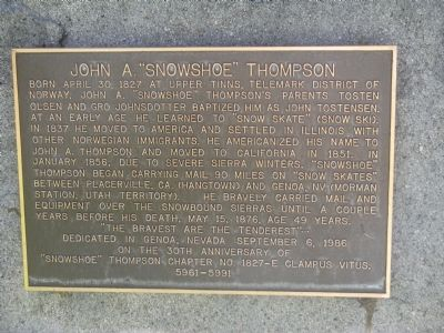 "John A. ""Snowshoe"" Thompson Marker image. Click for full size."