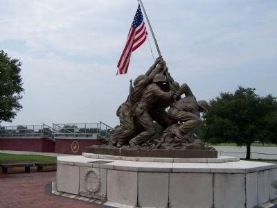 "Peatross Parade Deck East end marked by the ""Uncommon Valor- Iwo Jima Marine Memorial"" Photo, Click for full size"
