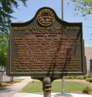 Seven Governors Have Lived In Walton County Marker image. Click for full size.