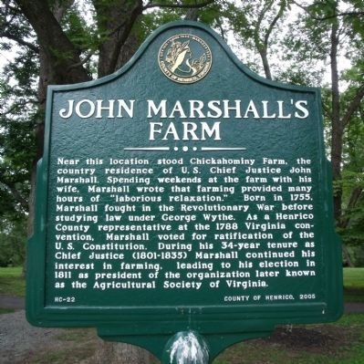John Marshall's Farm Marker image. Click for full size.