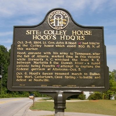 Site: Colley House Hood's H'dq'rs Marker image. Click for full size.