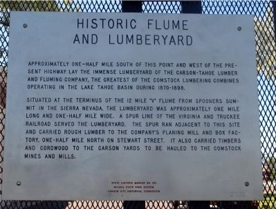 Historic Flume and Lumberyard Marker image. Click for full size.