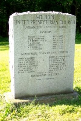 Mt. Hope United Presbyterian Church Marker image. Click for full size.