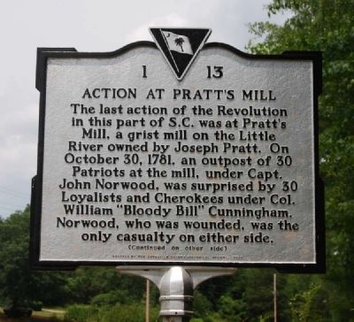 Action at Pratt's Mill Marker - Front image. Click for full size.