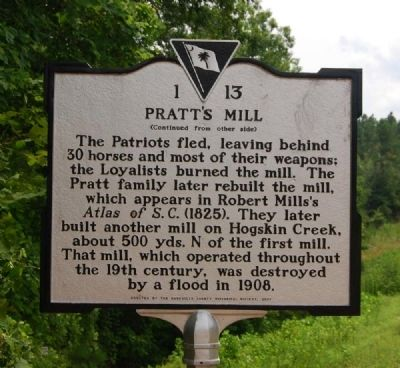 Action at Pratt's Mill Marker - Reverse image. Click for full size.