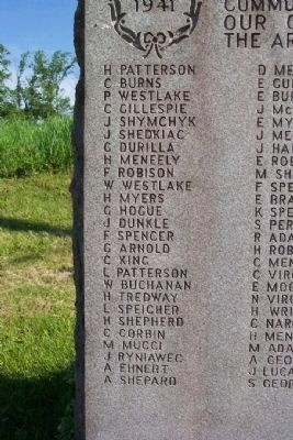 Independence World War II Honor Roll - Left Column image. Click for full size.