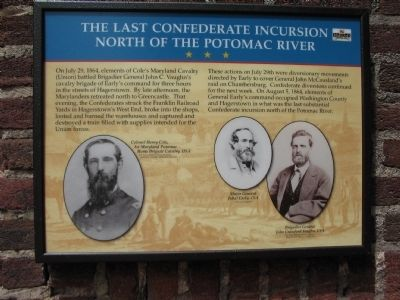 The Last Confederate Incursion North of the Potomac River Marker image. Click for full size.