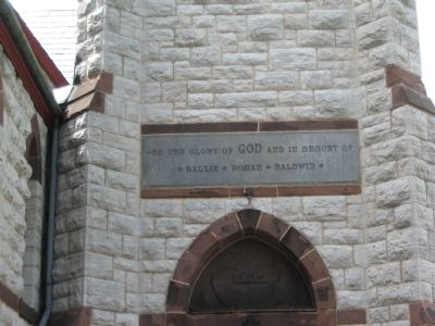 Inscription above Church Entrance image. Click for full size.