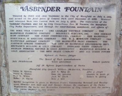 Vasbinder Fountain Marker Photo, Click for full size