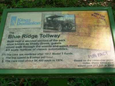 The Blue Ridge Tollway Marker image. Click for full size.