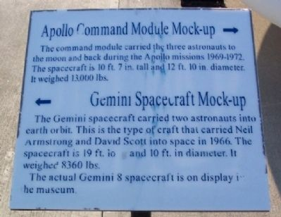 Apollo Command Module and Gemini Spacecraft Mock-ups Marker image. Click for full size.