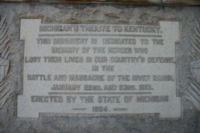 Michigan's Tribute to Kentucky Marker image. Click for full size.