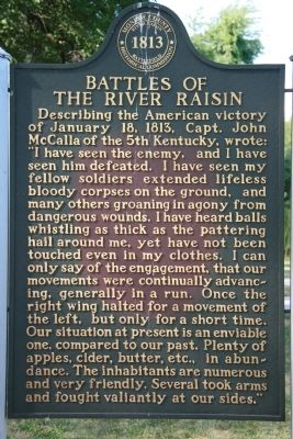 Battles of the River Raisin Marker image. Click for full size.