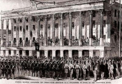 Gen. Samuel McGowan Reviewing Troops -<br>Charleston Hotel Photo, Click for full size