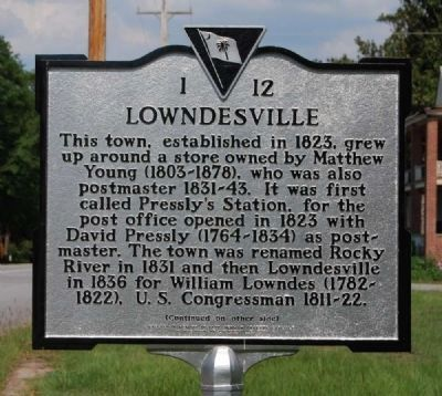 Lowndesville Marker - Front image. Click for full size.