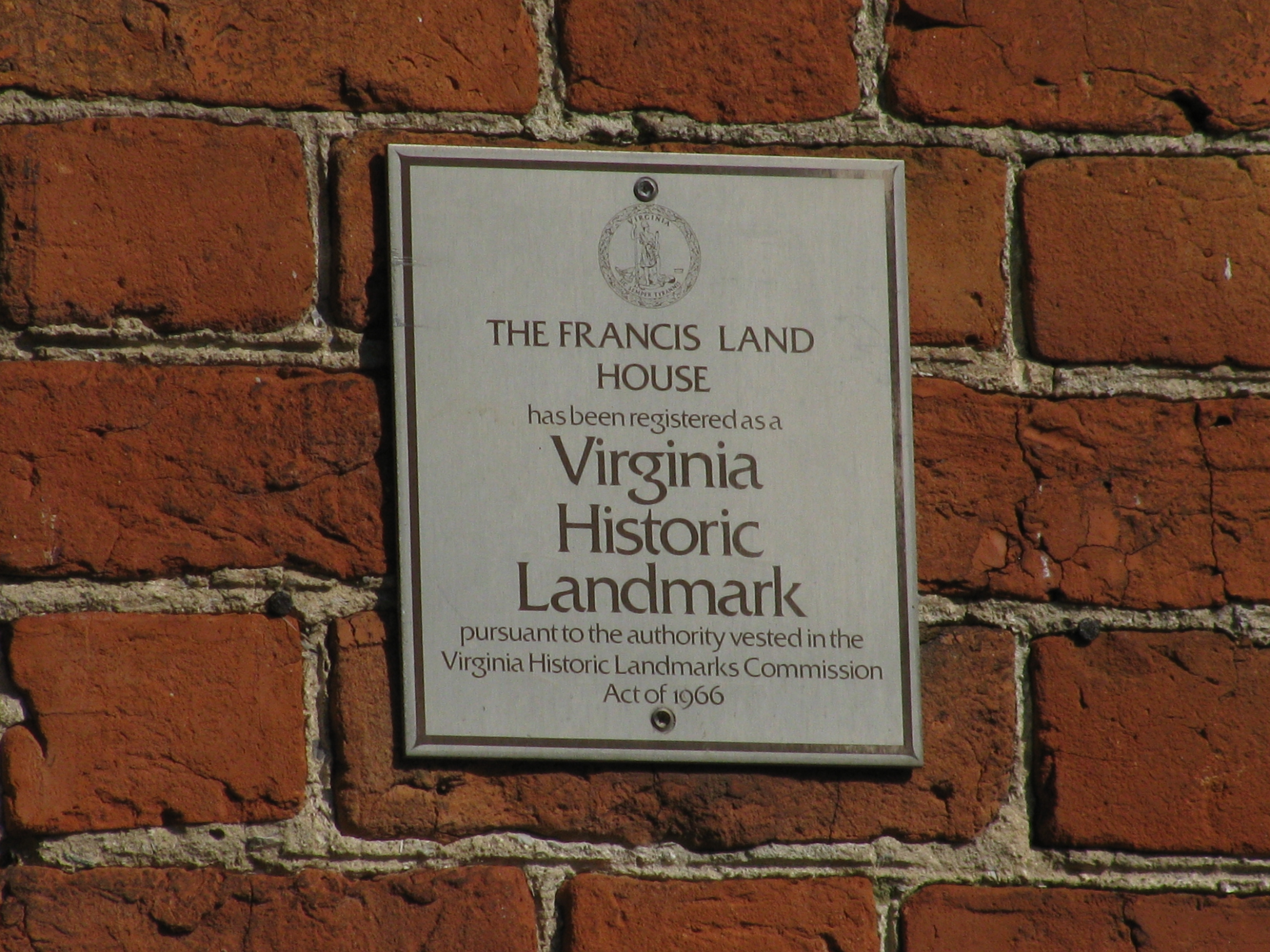Francis Land House Marker