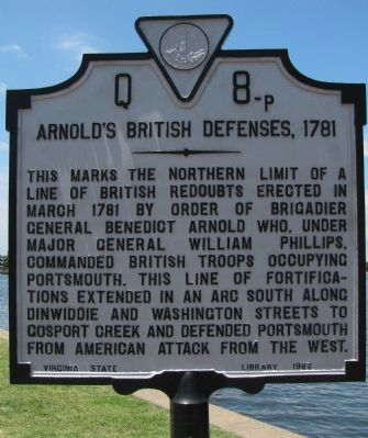 Arnold's British Defenses, 1781 Marker image. Click for full size.