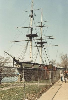Previous incarnation of Brig <i>Niagara</i> at pier in Erie during the 1980s Photo, Click for full size