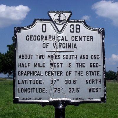 Geographical Center of Virginia Marker image. Click for full size.