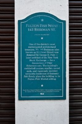 Fulton Fish Waist - 142 Beekman Street Marker Photo, Click for full size