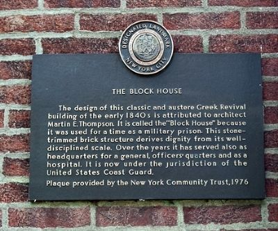 The Block House (Governors Island) Marker image. Click for full size.