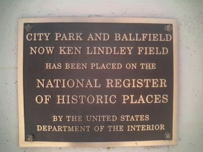 City Park and Ballfield National Register Plaque image. Click for full size.