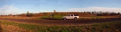 Caddo Mounds Panorama and Marker image. Click for full size.
