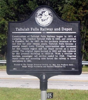 Tallulah Falls Railway and Depot Marker Photo, Click for full size