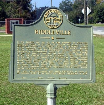 Riddleville Marker image. Click for full size.