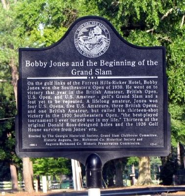 Bobby Jones and the Beginning of the Grand Slam Marker image. Click for full size.