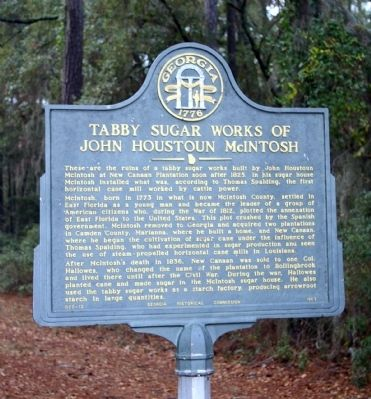 Tabby Sugar Works of John Houston McIntosh Marker Photo, Click for full size