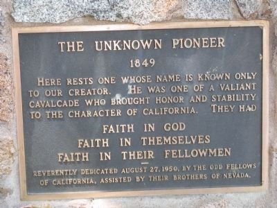 The Unknown Pioneer - 1849 image. Click for full size.