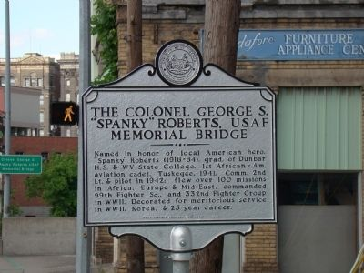 "The Colonel George S. ""Spanky"" Roberts, USAF Memorial Bridge Marker image. Click for full size."