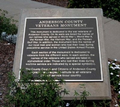 Anderson County Veterans Monument Marker image. Click for full size.